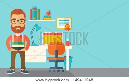 A student or lecturer standing carrying a stack of books inside his office. A Contemporary style with pastel palette, soft green tinted background.  flat design illustration. Horizontal layout with