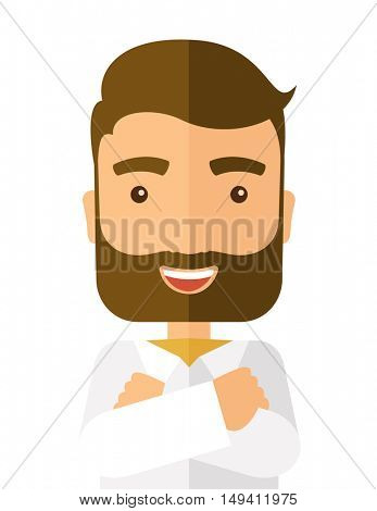 A happy man with cross arms. A Contemporary style.  flat design illustration isolated white background. Vertical layout