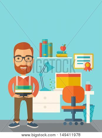 A student or lecturer standing carrying a stack of books inside his office. A Contemporary style with pastel palette, soft green tinted background.  flat design illustration. Vertical layout with text