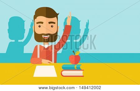 A young student raising his hand with a smile. A Contemporary style with pastel palette, soft green tinted background.  flat design illustration. Horizontal layout with text space in right side.
