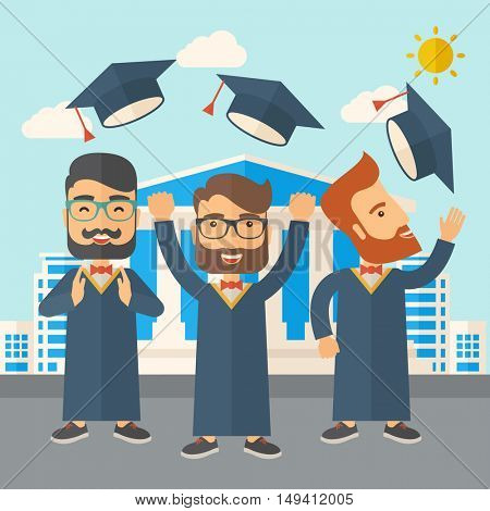 A smiling three men throwing graduation cap in the air. A Contemporary style with pastel palette, soft blue tinted background with desaturated clouds.  flat design illustration. Square layout.