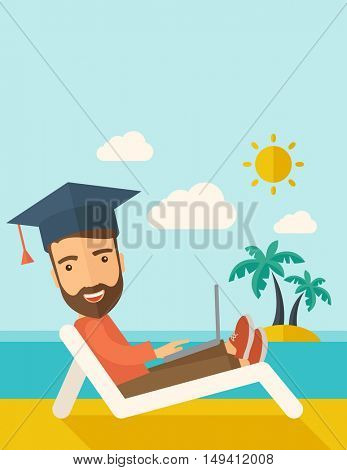 A young man sitting, wearing graduation cap with laptop on the beach under the sun. A Contemporary style with pastel palette, soft blue tinted background with desaturated clouds.  flat design