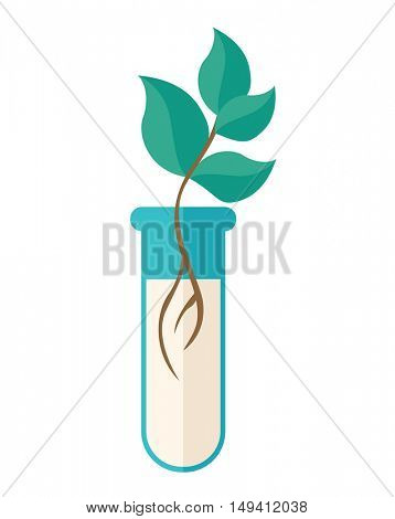 A Chemical test tube with green plant. A Contemporary style. flat design illustration isolated white background. Vertical layout.