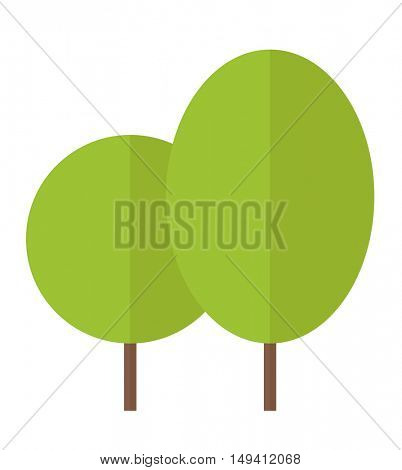 A two green eco leaves. A Contemporary style. flat design illustration isolated white background. Vertical layout