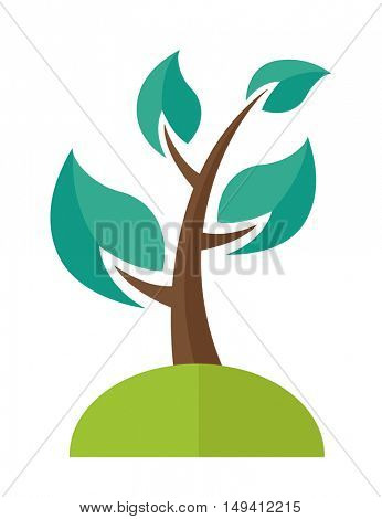 A green ecology Tree. A Contemporary style. flat design illustration isolated white background. Vertical layout
