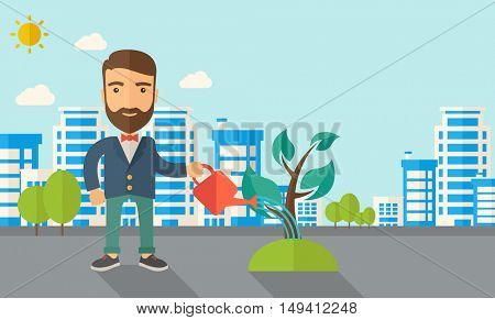 A man watering the growing plant as improving economy. A Contemporary style with pastel palette, soft blue tinted background with desaturated clouds. flat design illustration. Horizontal layout.