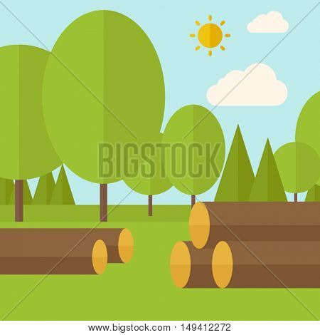 Pile of drywood sorrounded by a trees. A Contemporary style with pastel palette, soft blue tinted background with desaturated clouds. flat design illustration. Square layout.
