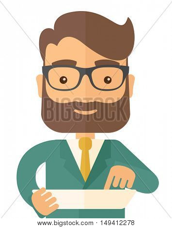 A man with laptop. A Contemporary style. flat design illustration isolated white background. Vertical layout