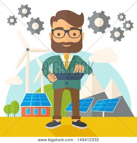 A mid adult male engineer holding a blueprint in a solar panel. A Contemporary style with pastel palette, soft beige tinted background. flat design illustration. Square layout.