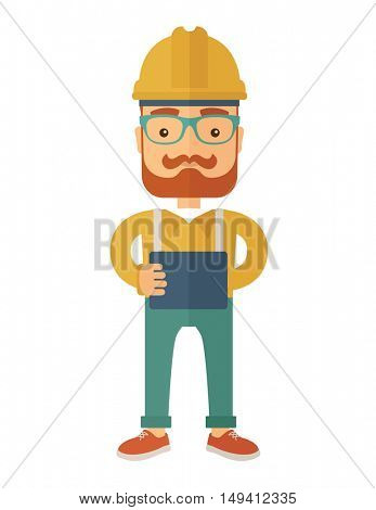 A young hipster male standing while holding a blueprint. A Contemporary style. flat design illustration isolated white background. Vertical layout