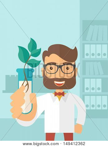 A chemist holding a test tube with eco leaves. A Contemporary style with pastel palette, soft blue tinted background. flat design illustration. Vertical layout with text space on top part.