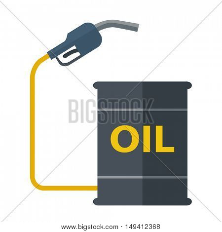 A black Metal barrels with gas pump. A Contemporary style. flat design illustration isolated white background. Square layout