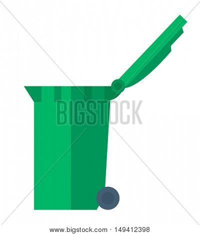 An open lid green waste container. A Contemporary style. flat design illustration isolated white background. Vertical layout.