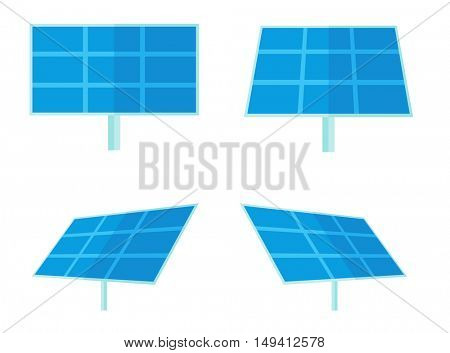 Four solar panels for alternative energy generation. A Contemporary style. flat design illustration isolated white background. Square layout