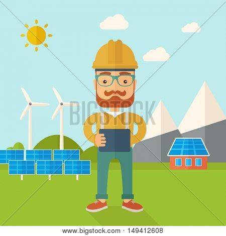 A young hipster male standing while holding a blueprint monitoring the solar panels with wind turbine. A Contemporary style with pastel palette, soft blue tinted background with desaturated clouds