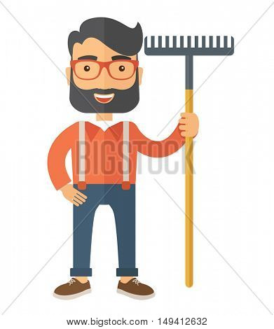 A caucasian man standing holding a rake ready for gardening. A Contemporary style. flat design illustration isolated white background. Vertical layout.