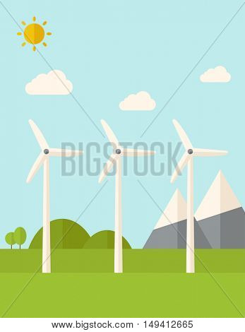 Three windmills standing under the heat of the sun. A Contemporary style with pastel palette, soft blue tinted background with desaturated clouds. flat design illustration. Vertical layout.