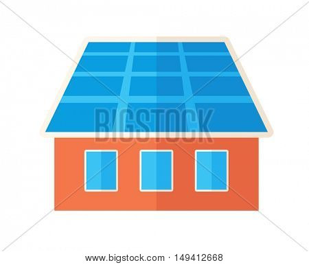 A house with solar panels on the roof. . A Contemporary style. flat design illustration isolated white background. Square layout