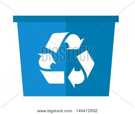 A blue garbage can with recycle symbol. A Contemporary style. flat design illustration isolated white background. Square layout.