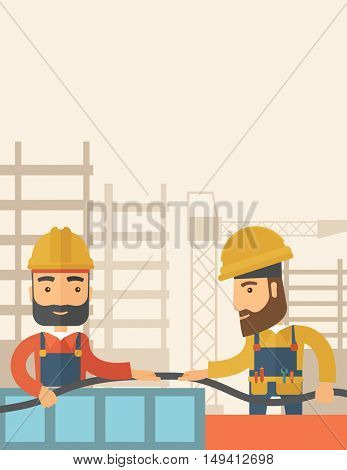 A two hipster builders wearing hard hat for their safety ladders use for construction. A Contemporary style with pastel palette, soft beige tinted background. flat design illustration. Vertical layout
