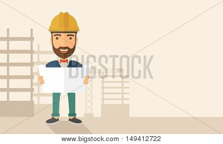 A young hipster engineer holding while reviewing the construction plan. A Contemporary style with pastel palette, soft beige tinted background. flat design illustration. Horizontal layout with text