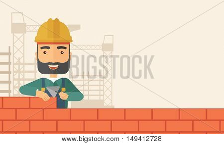 A smiling builder wearing a hard hat buiding a brick wall. A Contemporary style with pastel palette, soft beige tinted background. flat design illustration. Horizontal layout with text space in right