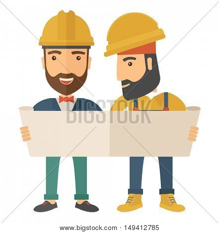 A two young architects wearing protection helmets looing at blueprint.  A Contemporary style. flat design illustration isolated white background. Square layout.
