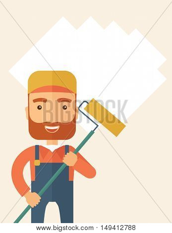 A young Caucasian glass cleaner wearing hat holding stick rubber scraper. A Contemporary style with pastel palette, soft beige tinted background. flat design illustration. Vertical layout with text