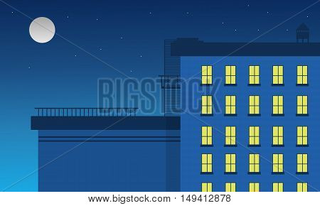 Vector flat of building and light landscape of silhouette
