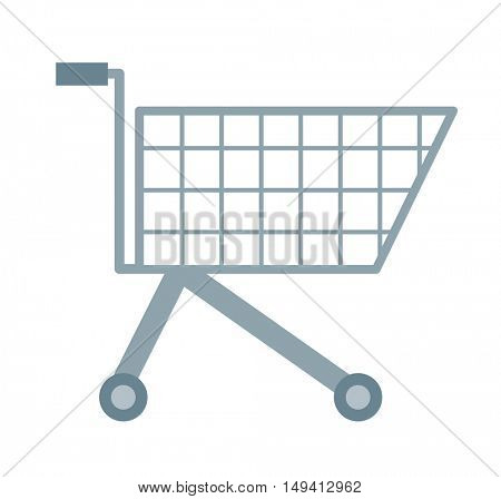 An empty supermarket cart. A Contemporary style with pastel palette, soft orange tinted background. flat design illustrations. Horizontal layout with text space in right side.