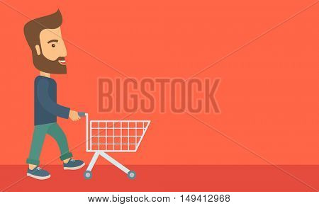 A handsome guy pushing an empty cart. A Contemporary style with pastel palette, soft orange tinted background. flat design illustration. Horizontal layout with text space in right side.