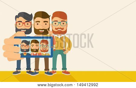 A three happy men taking a selfie using smartphone. A Contemporary style with pastel palette, soft beige tinted background. flat design illustration. Horizontal layout with text space in right side.