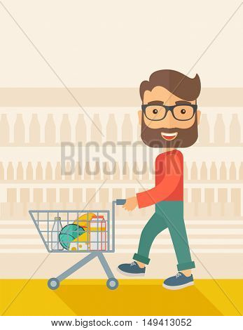 A male shopper pushing a shopping cart inside the supermarket. A Contemporary style with pastel palette, soft beige tinted background. flat design illustration. Vertical layout.
