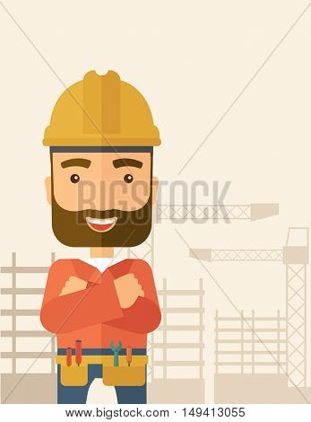 A hipster construction worker wearing hard hat for protection of his head. Working concept. A Contemporary style with pastel palette, soft beige tinted background. flat design illustration. Vertical