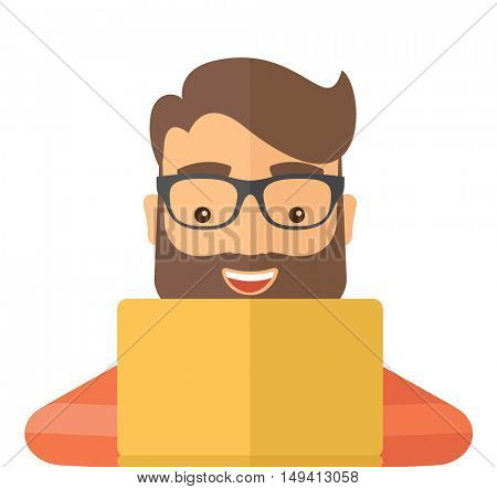 Man making a purchase using laptop with internet in online shopping with promo discount. A contemporary style. flat design illustration with isolated white background. Square layout.