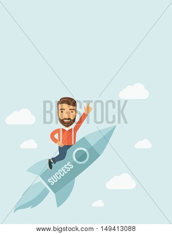 Happy businessman flying on a rocket with caption success and showing direction of movement suited for business start up concept design. A Contemporary style with pastel palette, soft blue tinted