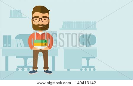 Stressful but happy employee standing in office carrying his finished file report ready to submit to his superior. Busy concept. A contemporary style with pastel palette, soft blue tinted background