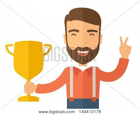 A Caucasian businessman proudly standing on the winning podium holding up winning trophy and showing an arrow pointing upward as his success. Winner concept. A contemporary style. flat design
