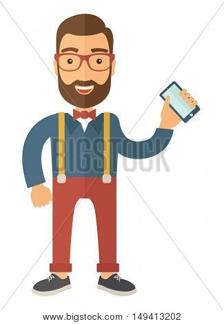 A hipster Caucasian happy standing holding his smartphone. Happy concept. A contemporary style. flat design illustration with isolated white background. Vertical layout.
