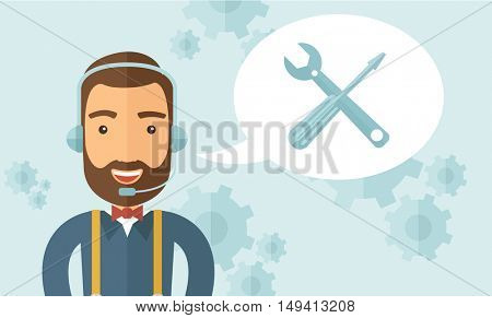 An operator man with headset customer service heldesk service with screwdriver and combination wrench inside bubble. Call center concept. A contemporary style with pastel palette, soft blue tinted