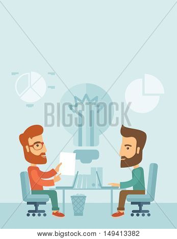 Two businessmen sitting working together getting a brilliant ideas from internet using their laptop. A contemporary style with pastel palette, soft blue tinted background. flat design illustration