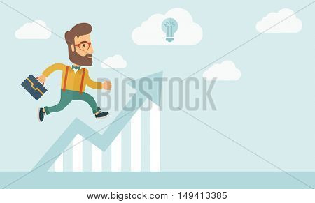The businessmen with beard is running over growing chart. Perspective Idea concept.  flat design Illustration. Horizontal layout with a text space in a right.