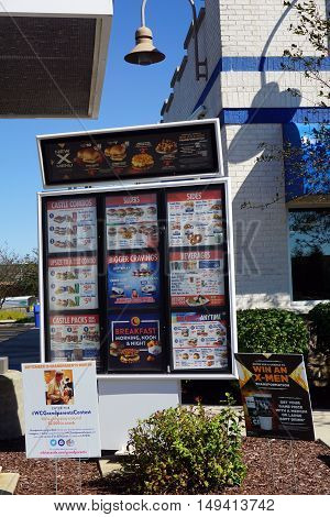PLAINFIELD, ILLINOIS / UNITED STATES - SEPTEMBER 19, 2016: Drive-through customers may select from items posted on the menu posted outside the White Castle Restaurant in Plainfield.