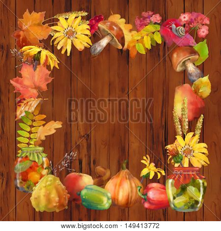 Watercolor autumn decorative square frame with natural elements on a wooden background