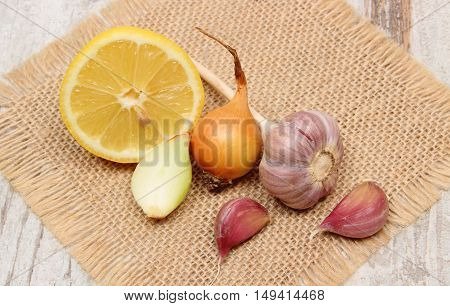 Fresh Onion, Garlic And Lemon, Healthy Nutrition And Strengthening Immunity