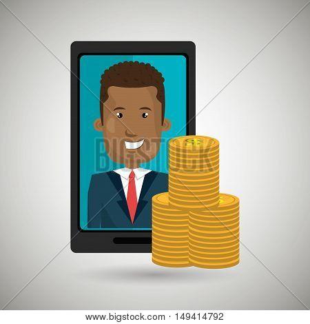 smartphone man money coins vector illustration eps 10