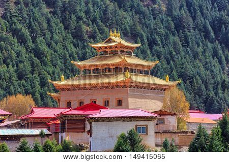 Chinese temple or pagoda tibet style and landmarks public place in Ganzi Sichuan China