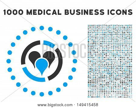 Geo Diagram icon with 1000 medical business gray and blue vector pictograms. Design style is flat bicolor symbols, white background.