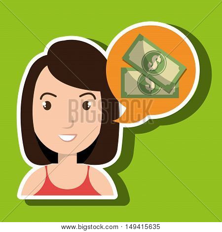 woman tax payment report vector illustration eps 10