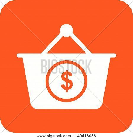 Basket, dollar, money icon vector image. Can also be used for currency. Suitable for web apps, mobile apps and print media.